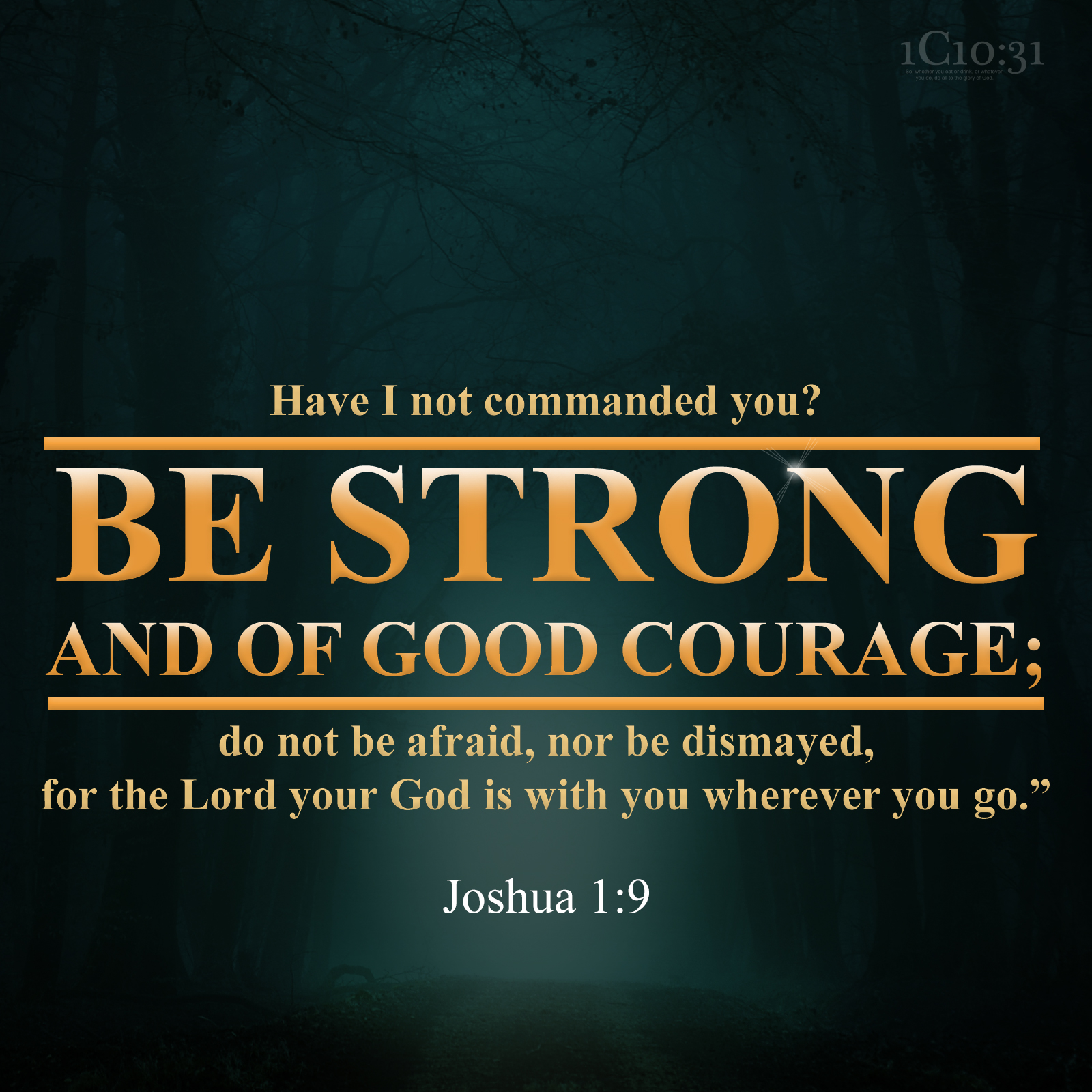 """Joshua 1:9 Have I not commanded you? Be strong and of good courage; do not be afraid, nor be dismayed, for the Lord your God is with you wherever you go."""""""